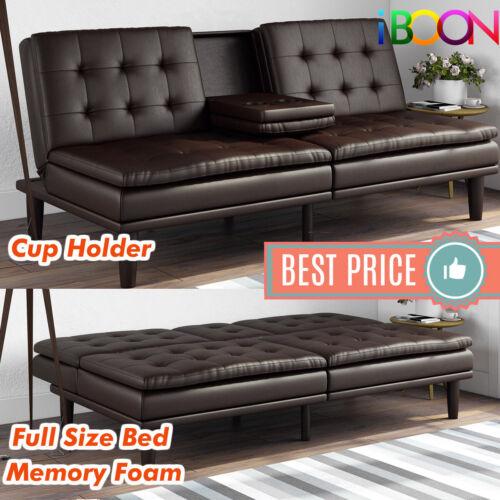 Memory Foam Faux Leather Futon Sofa, Faux Leather Loveseat Sofa Bed