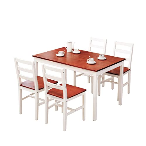 Mecor 5 Piece Wood Dining Table Set, Pine Dining Room Table And Chairs