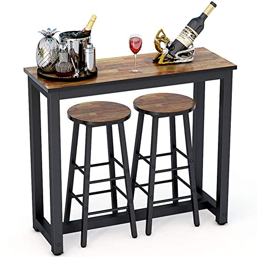 Buy Tribesigns 3 Piece Pub Table Set Counter Height Kitchen Bar Dining Table With Stools Set For Breakfast Nook Dining Room Living Room Small Space Brown Online In Germany B083smymyp
