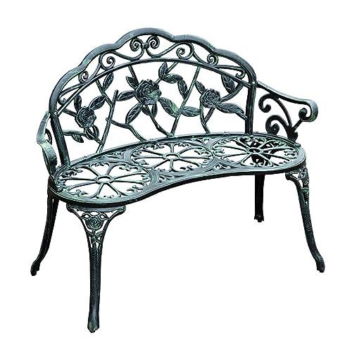 Outsunny Garden Bench Loveseat With, Black Cast Aluminum Garden Bench
