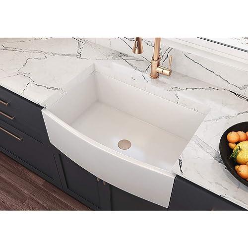 Buy Moccoa Regallo 30 Authentic Fireclay Kitchen Sink Reversible Single Bowl Farmhouse Sink White Online In Germany B07kgk98ld