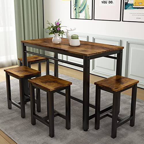Buy 5 Pcs Dining Table Set Modern Bar Table Set With 4 Chairs Home Kitchen Breakfast Table And Chairs Set Ideal For Pub Living Room Breakfast Nook Easy To Assemble Rustic Brown