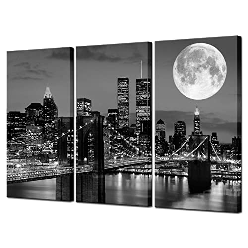 Buy Biuteawal New York Skyline Wall Art Brooklyn Bridge Moon Night View Picture Canvas Print Black And White City Artwork Painting Modern Home Office Living Room Decoration Online In Germany B083jwd3px