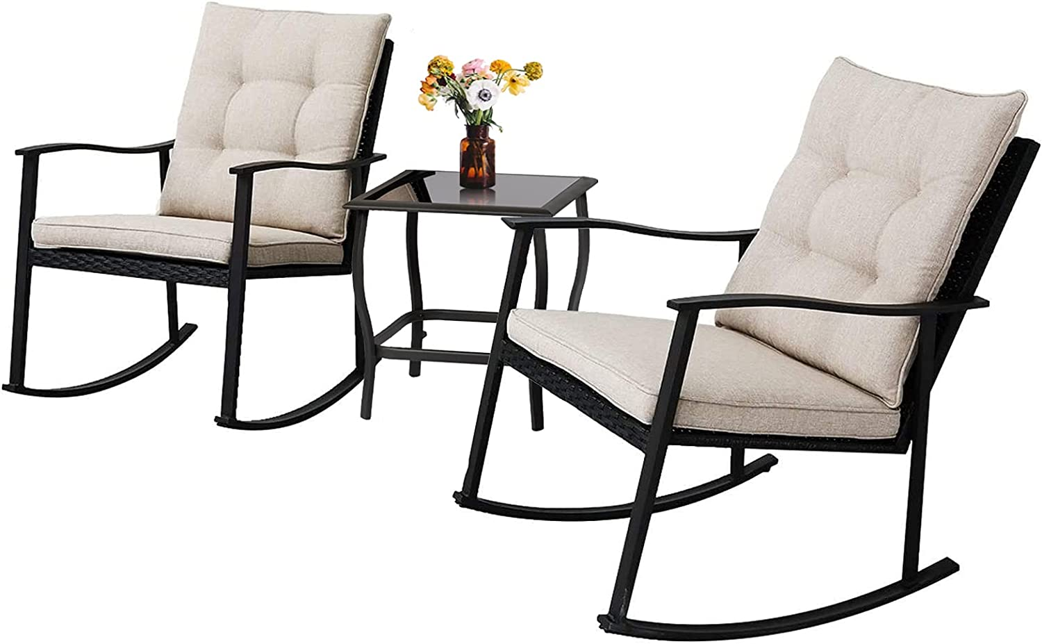 Rocking Chair Patio Bistro Set, Outdoor Rocking Chairs Set Of 2