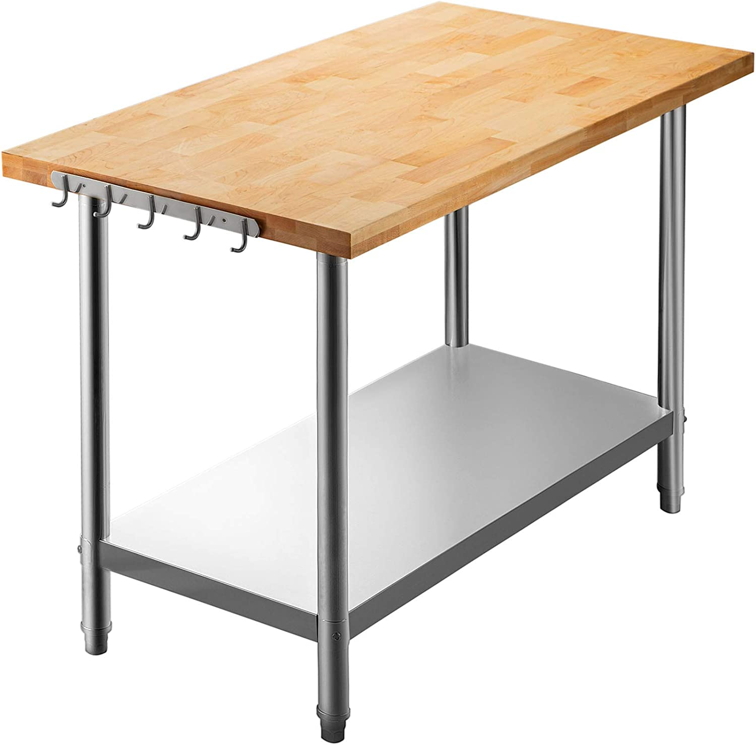 Buy VEVOR Maple Top Work Table, 9 x 9 Inches Stainless Steel ...