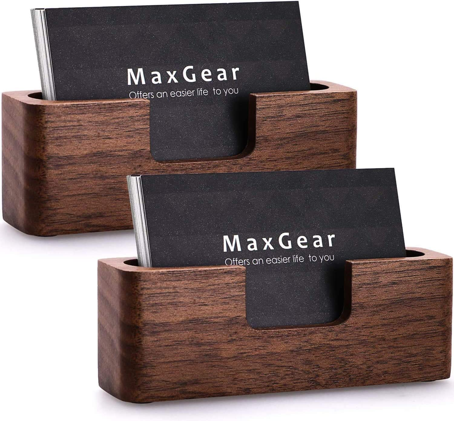 Buy MaxGear Business Card Holder Wood Business Cards Holder for ...
