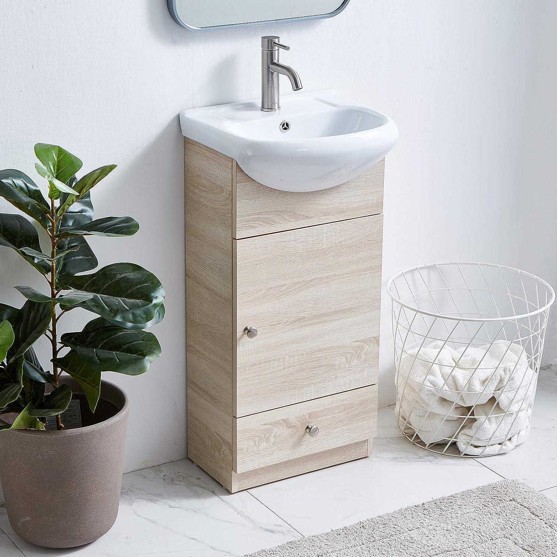 Buy Wenore Home Modern Bathroom Vanity Set 18 Small Bathroom Vanity Bath Vanity With Sink Single Bathroom Vanity Cabinet With Ceramic Sink Bathroom Vanity And Sink Combo 1 Door 1 Drawer Gray Wood Grain Online In