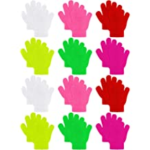 63216a245 Coobey 12 Pairs Kids Warm Magic Gloves Teens Winter Stretchy Knit Gloves  Boys Girls Knit Gloves