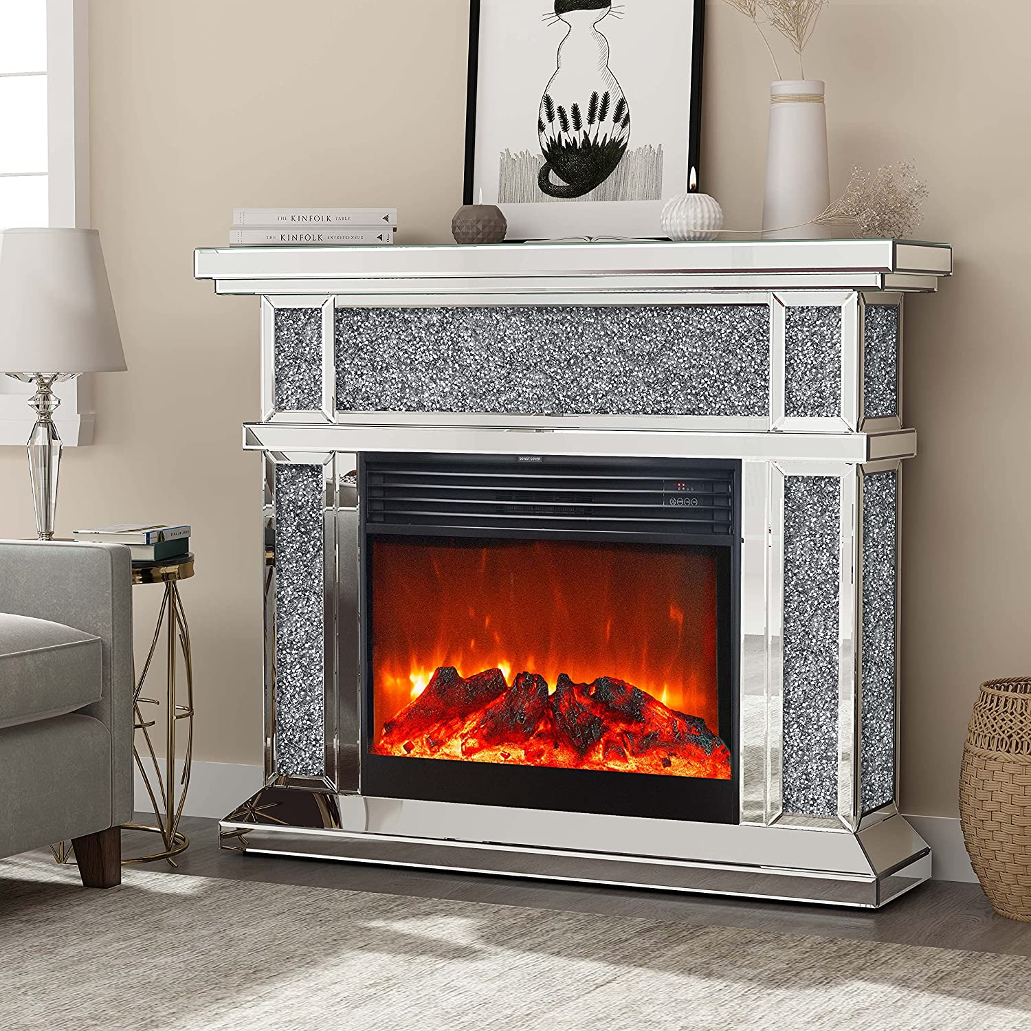 Buy Mirrored Electric Fireplace, Fireplace Mantel Freestanding ...